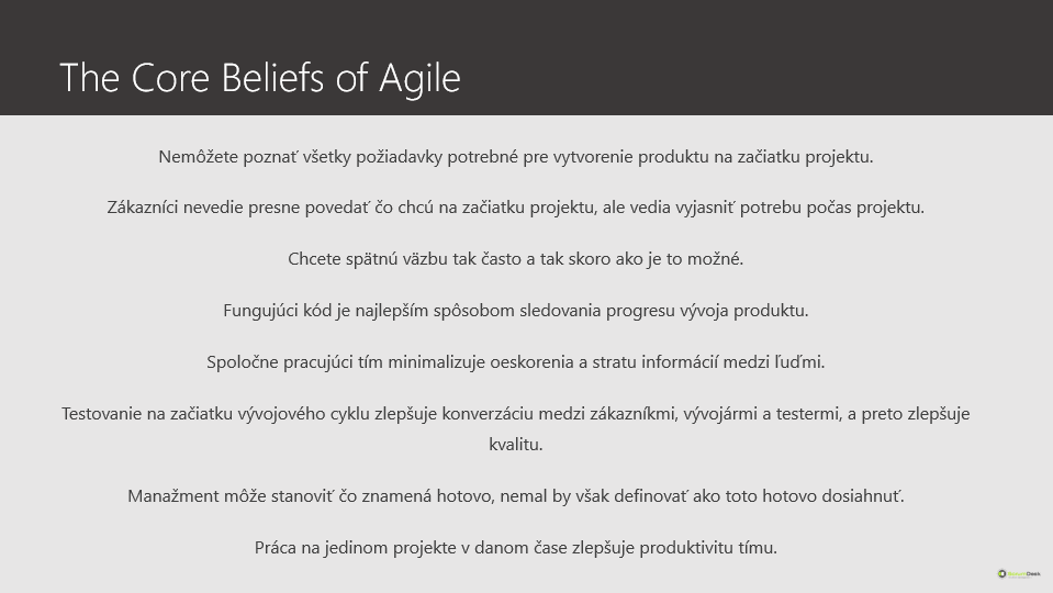 the core beliefs of agile