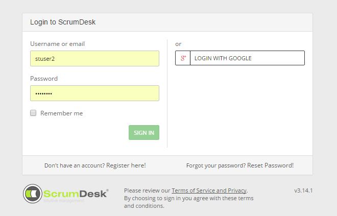 ScrumDesk Start - login