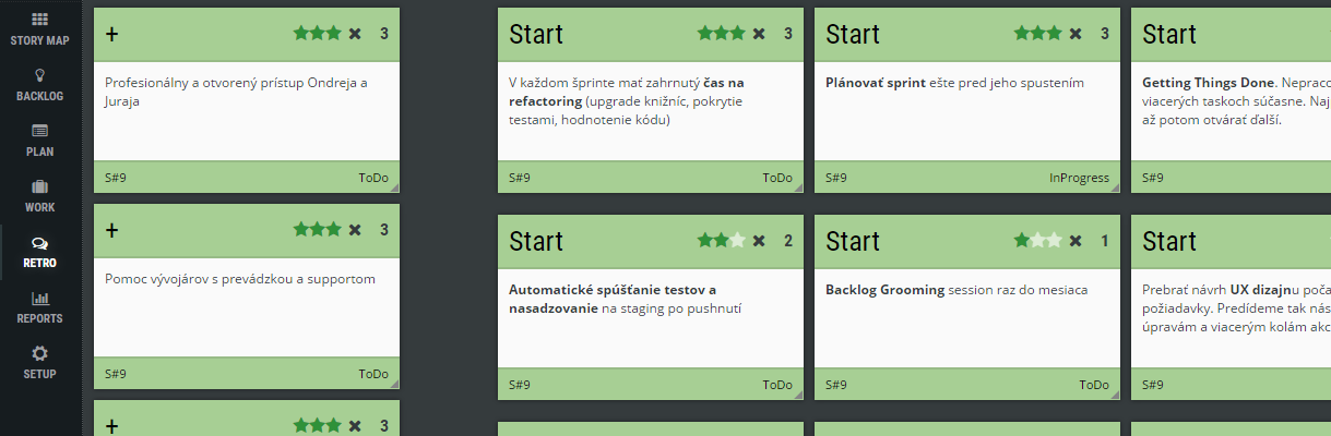 Scrum Agile retrospective ScrumDesk Start ideas voting MadSadGlad Kudobox