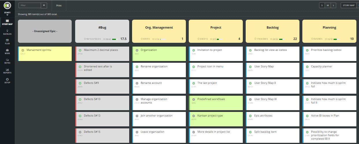 ScrumDesk Start - user story map
