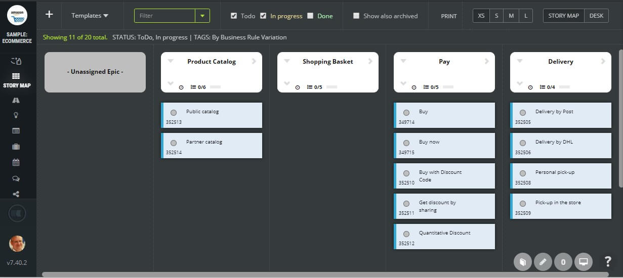 User stories splitting by business rule variation - ecommerce application example