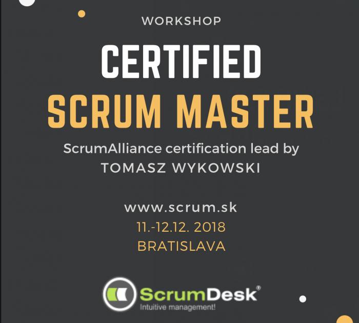 Course Certified Scrum Master, Bratislava, 11-12.12.2018